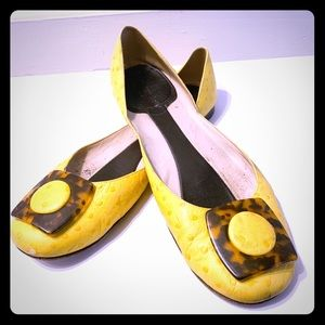 Kate Spade Yellow Ostrich and Tortoise Flats 8.5
